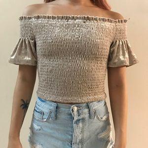 Lulus velvet off the shoulder crop top